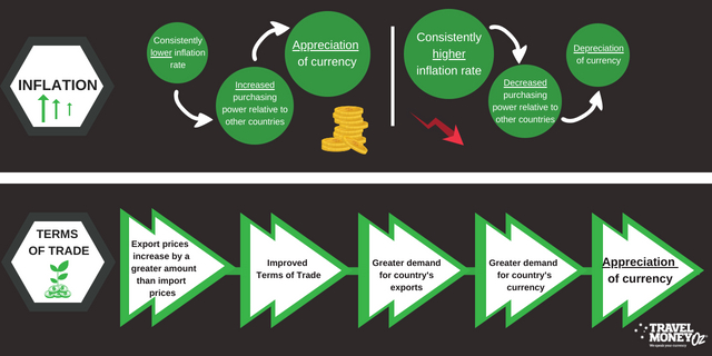 Affects of Inflation and Terms on trade on foreign exchange flow chart
