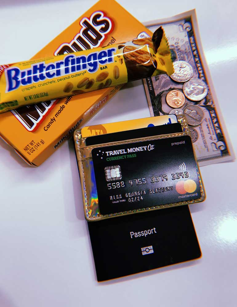 American currency and butterfinger