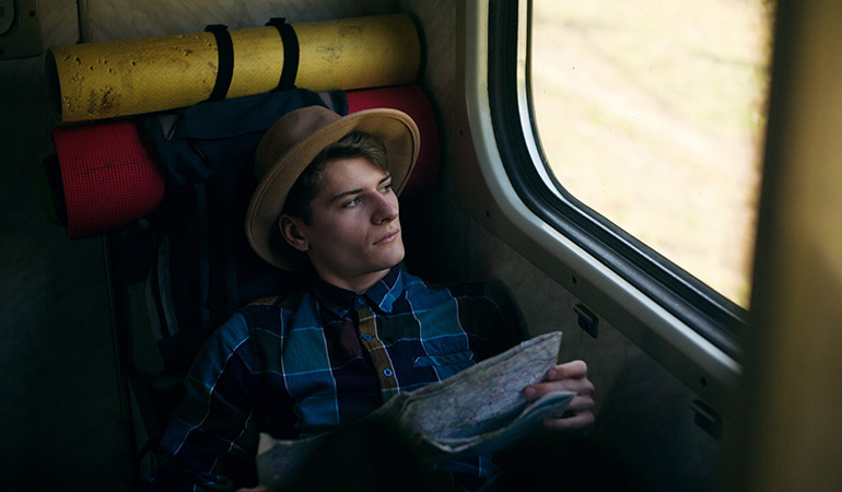 Traveller on train