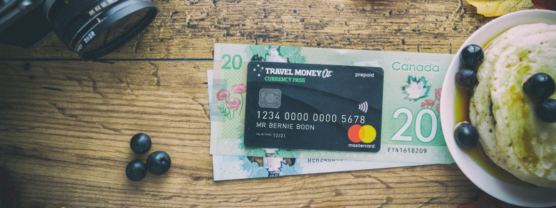 travel card over canadian notes