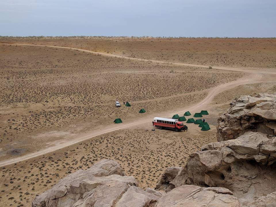 Wild camping near the Darvaza Crater, Turkmenistan