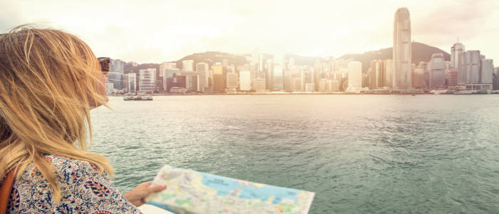 hong kong skyline with map