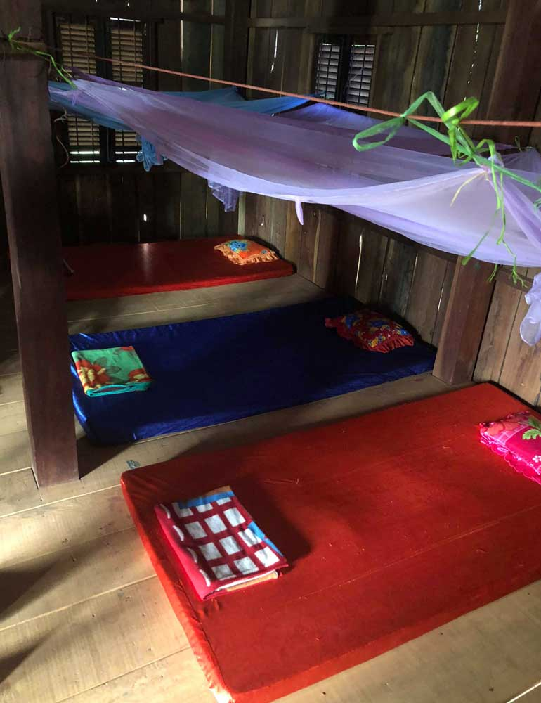 Beds at Cambodian homestay