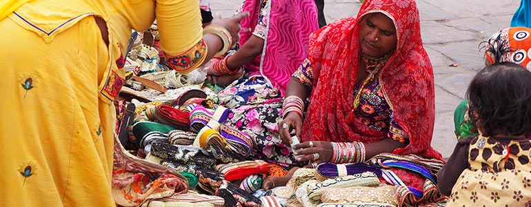 Indian women at markets