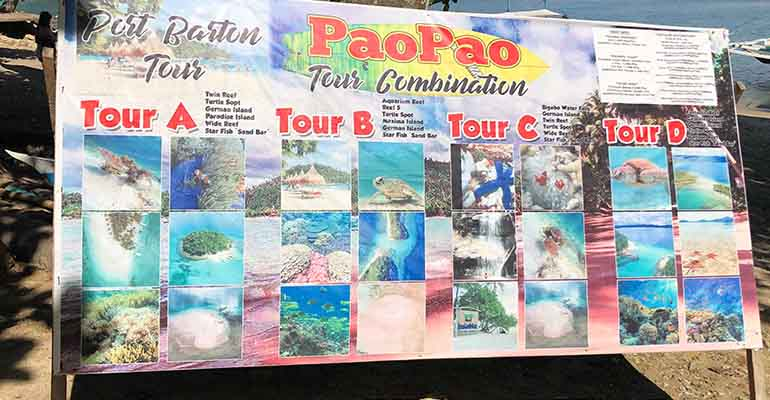 Tour options in Port Barton