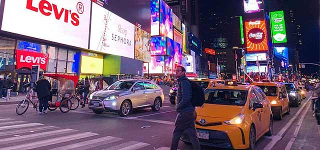 Walking on street in NYC