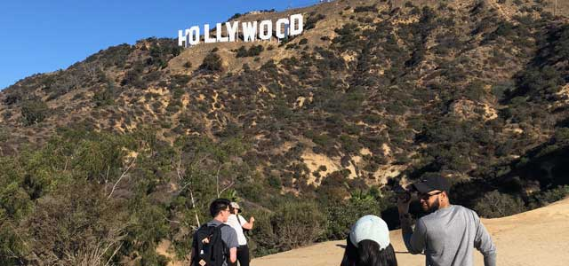 Group walk to Hollywood sign