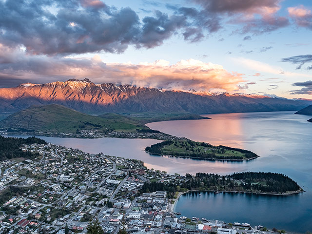 Landscape view of Queenstown in New Zealand