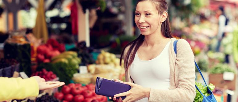 smiling woman at markets