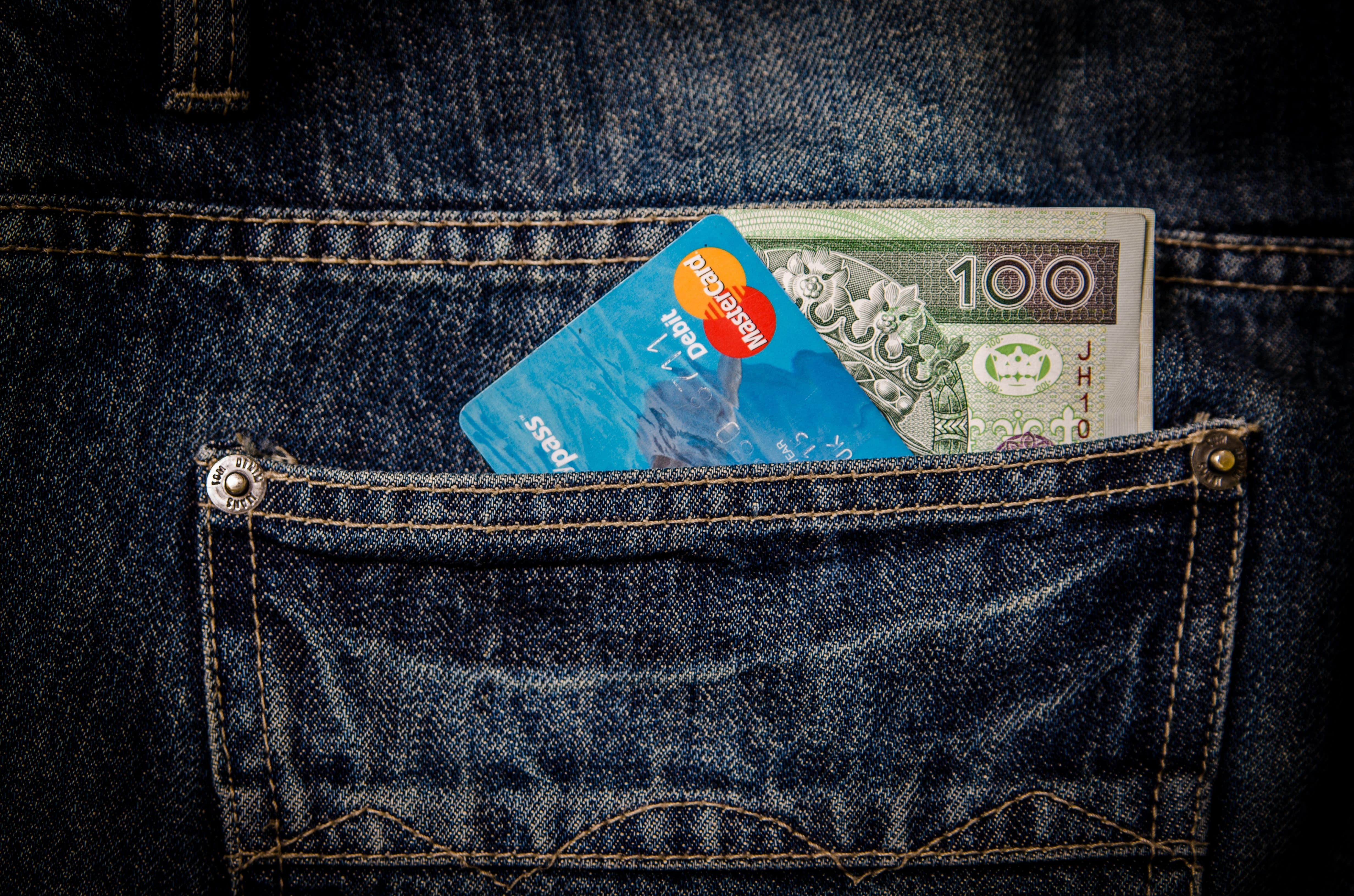 Credit card in back pocket