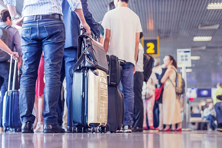 Long queue at airport