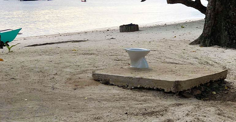 Toilet on a beach