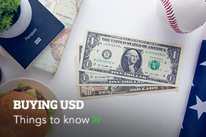 USD currency with travel money card baseball ball and diary