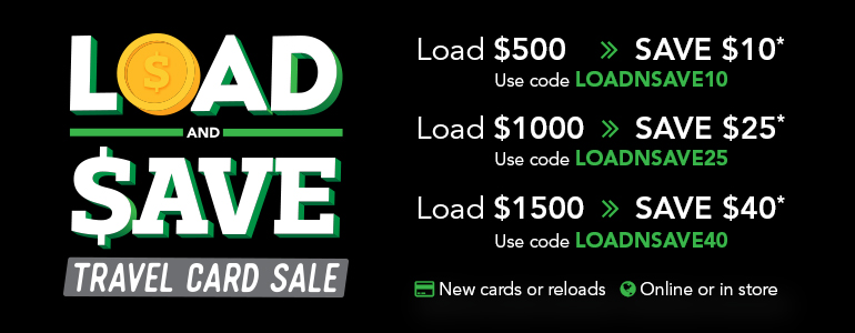 Load and save travel card sale