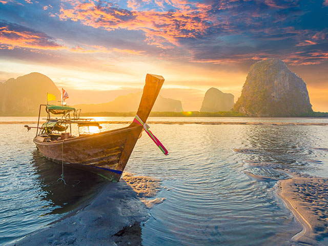 Traditional Thai long tail boat in Phuket Thailand