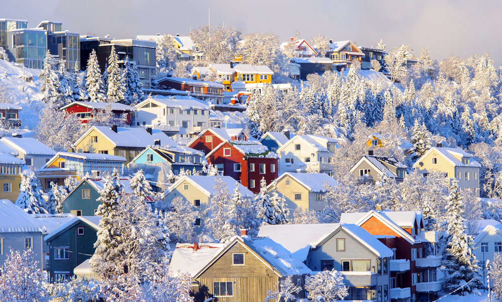Snow covered rooftops in Tromso, Norway