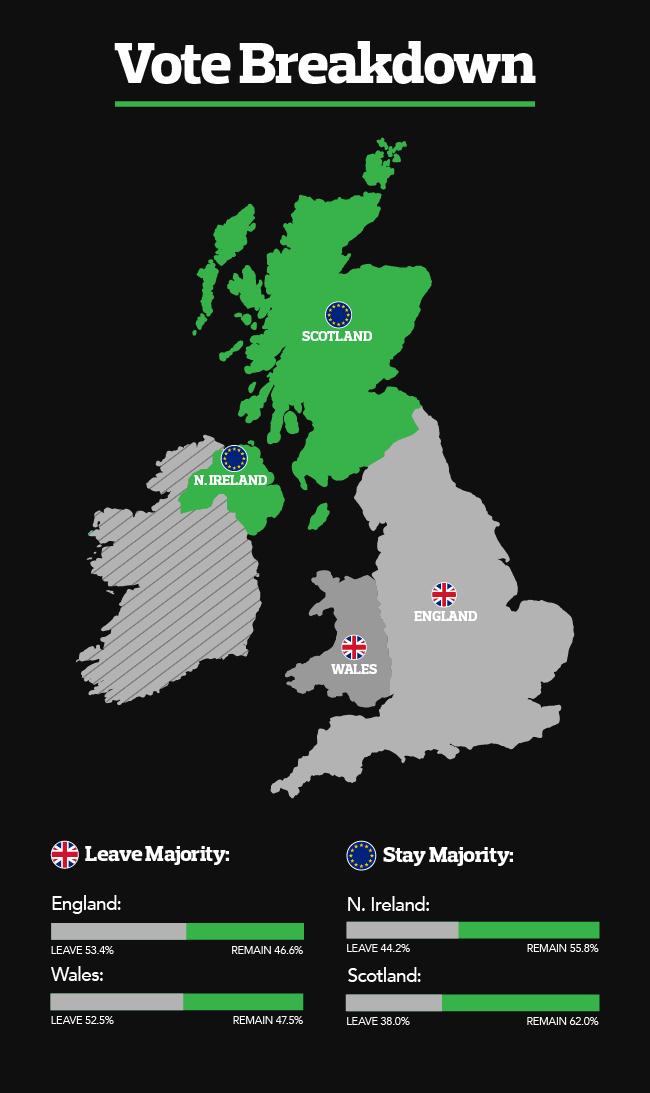 Brexit vote breakdown infographic