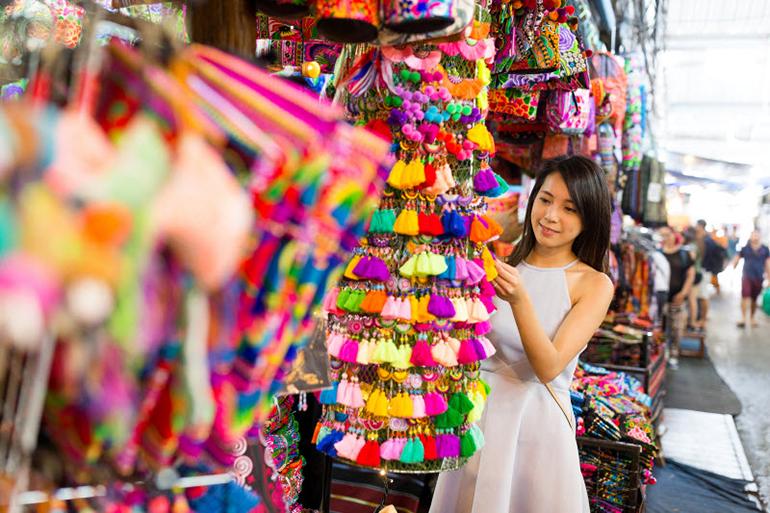 woman browsing at market