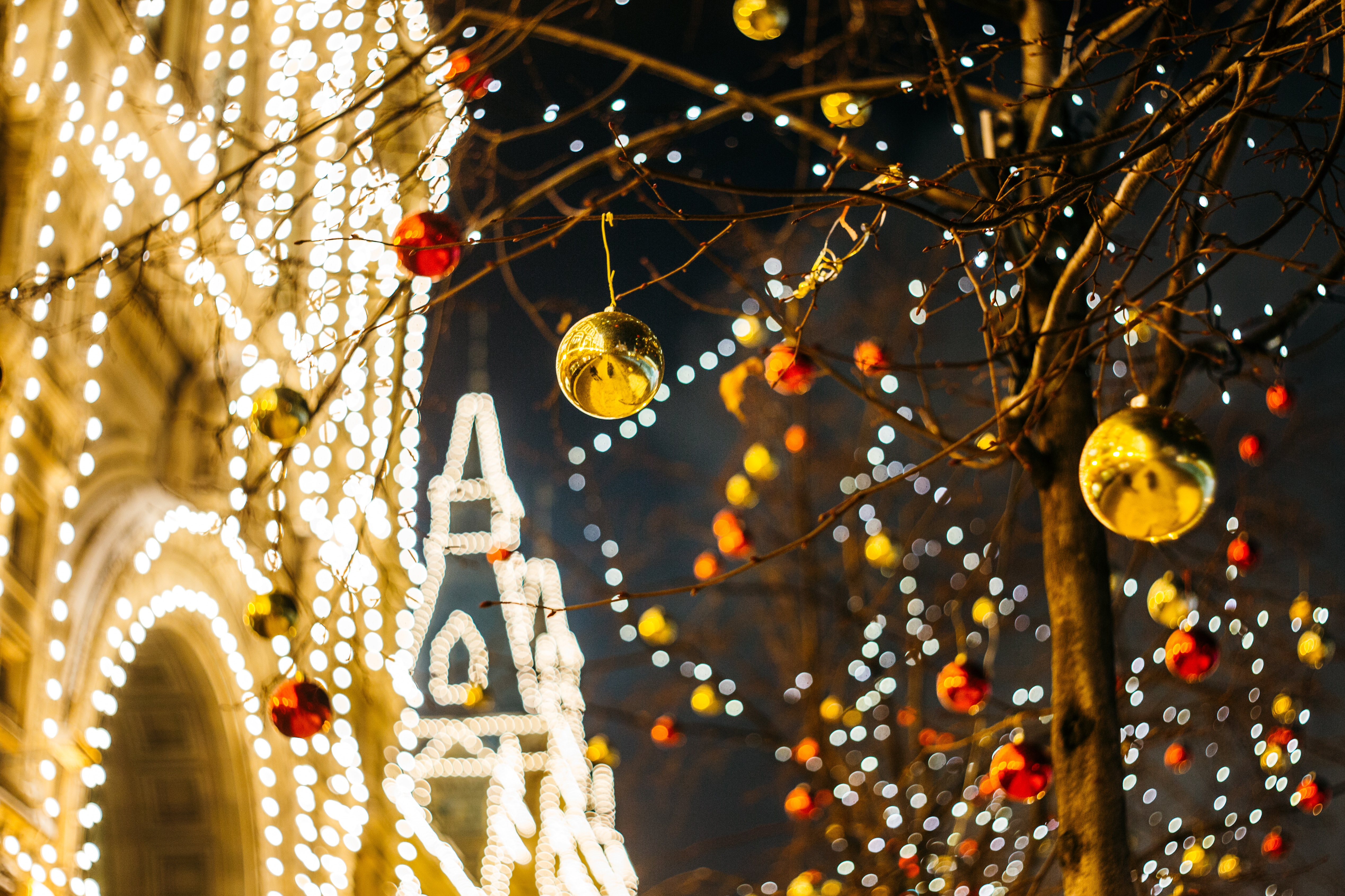 Image of Christmas lights and baubles