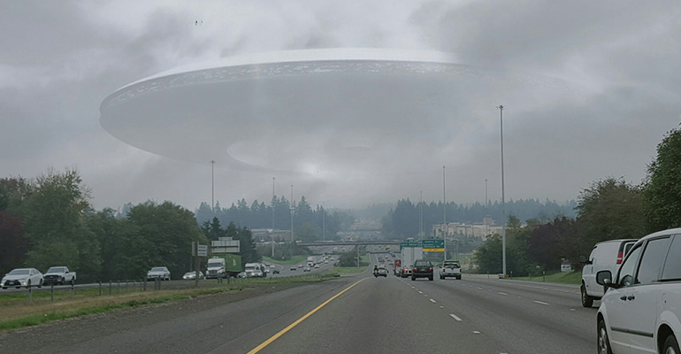 UFO over road