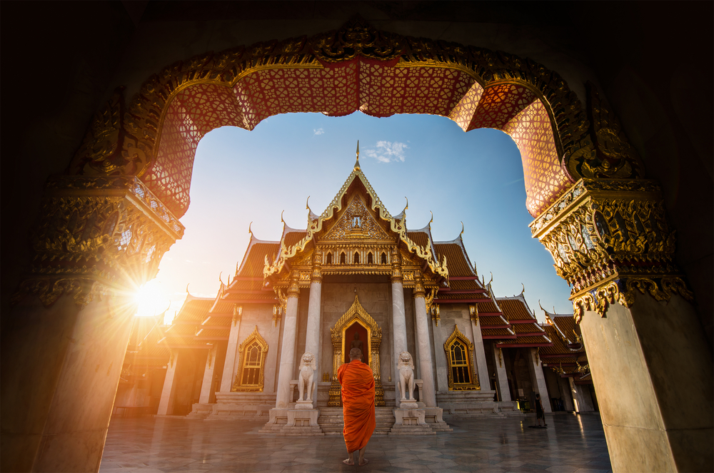 Temple in Thailand with monk