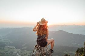 girl overlooking mountains