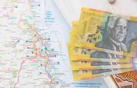 Aussie dollar on map