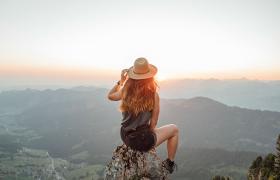 girl overlooking mountains