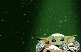 Baby yoda with money