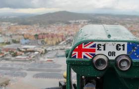 Telescope with UK and EU flag