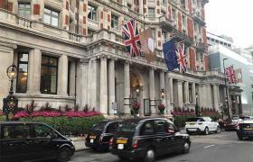 British flags on street